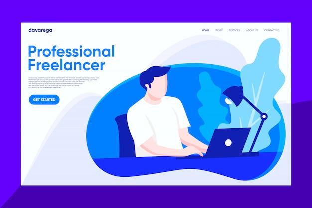 Freelancer profissional que trabalha no design de página de desembarque do laptop