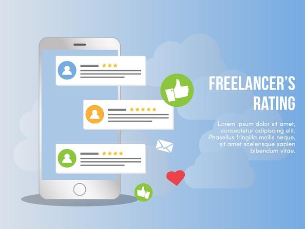 Freelancer rating conceito ilustração vetorial modelo de design