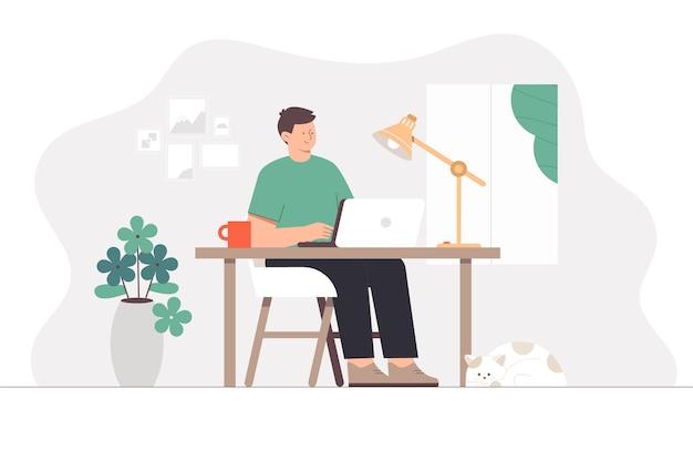 Freelancer trabalhando com laptop em quarto aconchegante