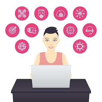Freelancer trabalhando com laptop, garota com cabelo curto no trabalho, e-commerce, marketing na internet