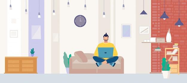 Freelancer trabalhando no laptop em casa plana