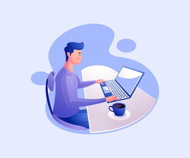 Freelancer trabalhando no laptop em casa