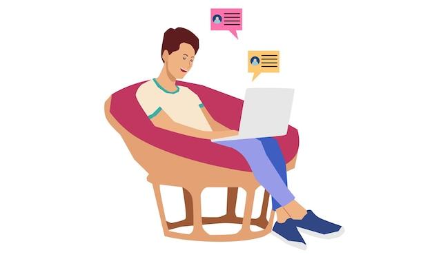 Freelancer trabalhando remotamente de casa