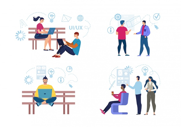 Freelancers de trabalho conjunto plano de caracteres