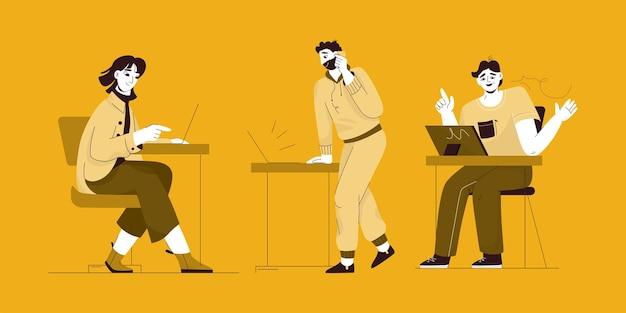 Freelancers ou funcionários que trabalham em laptops conjunto de pessoas isoladas.
