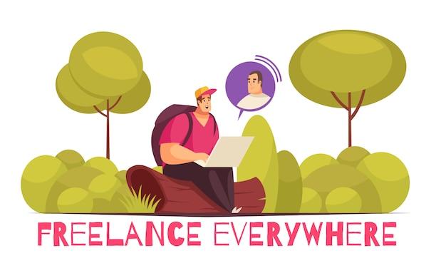 Freelancers que trabalham em toda parte composição plana e engraçada dos desenhos animados com clientes de consultoria de homem usando laptop na floresta