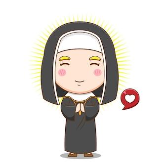 Freira fofa rezando