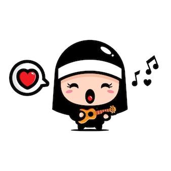 Freira fofa tocando ukulele