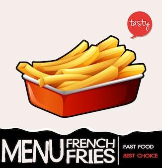 Frenchfries na bandeja vermelha