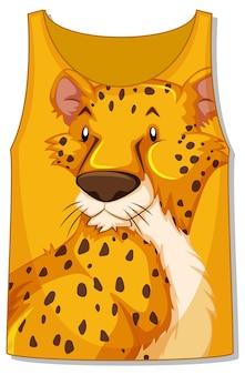 Frente da blusa sem mangas com padrão de leopardo