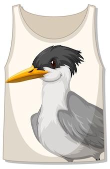 Frente da blusa sem mangas com padrão de pássaro