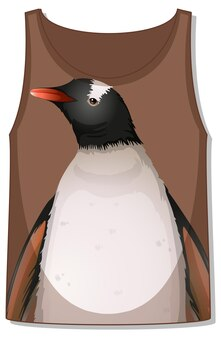 Frente da blusa sem mangas com padrão de pinguim