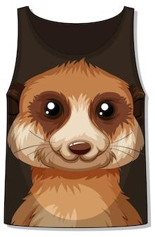 Frente da blusa sem mangas com padrão de suricato