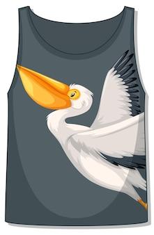 Frente da blusa sem mangas com padrão pelicano