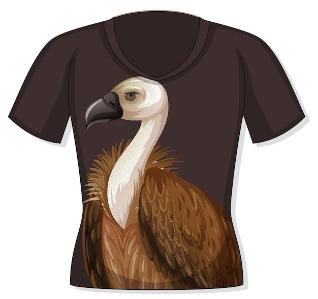 Frente da camiseta com estampa de abutre