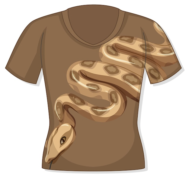 Frente da camiseta com estampa de cobra