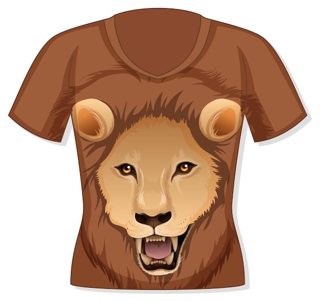 Frente da camiseta com estampa de leão