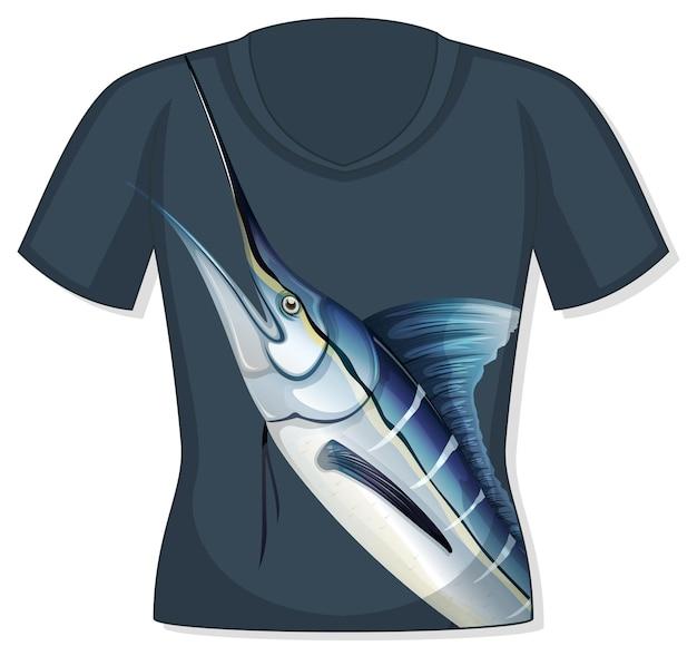 Frente da camiseta com estampa de peixe