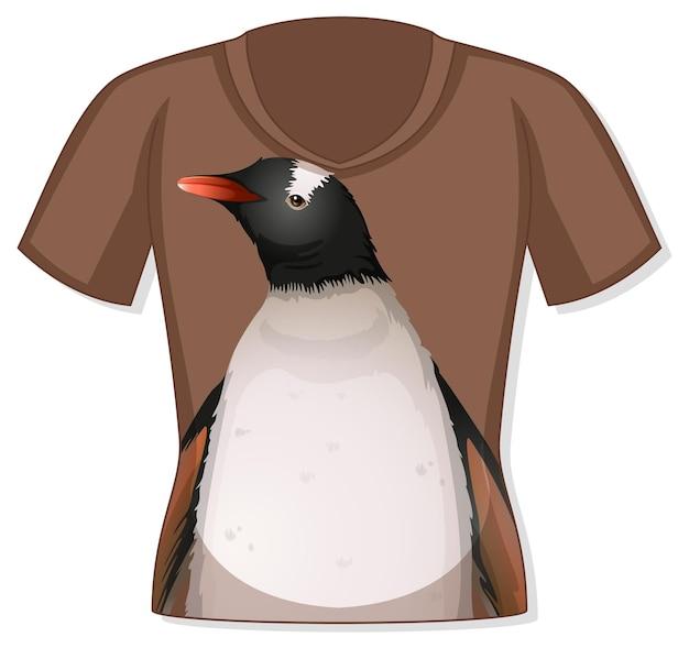 Frente da camiseta com estampa de pinguim