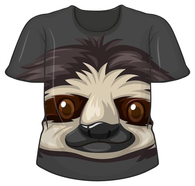 Frente da camiseta com estampa de preguiça