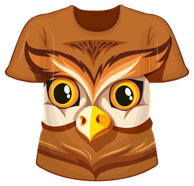 Frente da camiseta com estampa de rosto de coruja