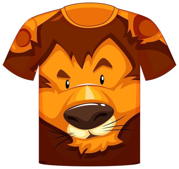 Frente da camiseta com estampa de rosto de leão