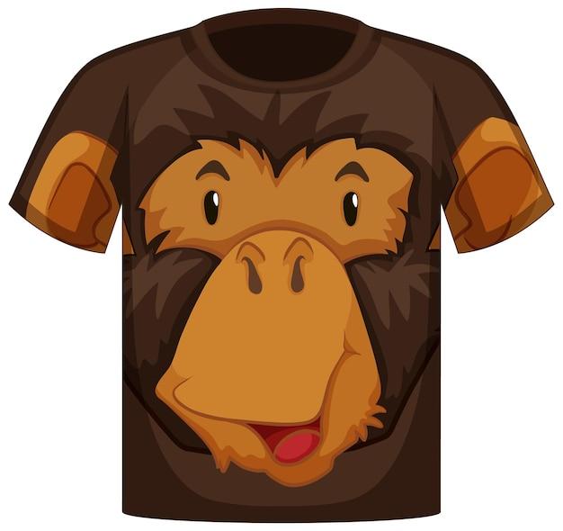 Frente da camiseta com estampa de rosto de macaco