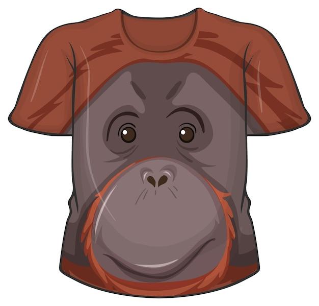 Frente da camiseta com estampa de rosto de orangotango