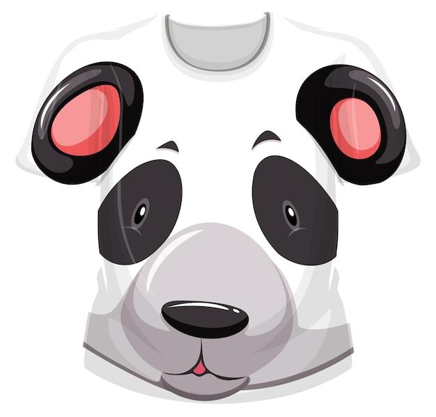 Frente da camiseta com estampa de rosto de panda