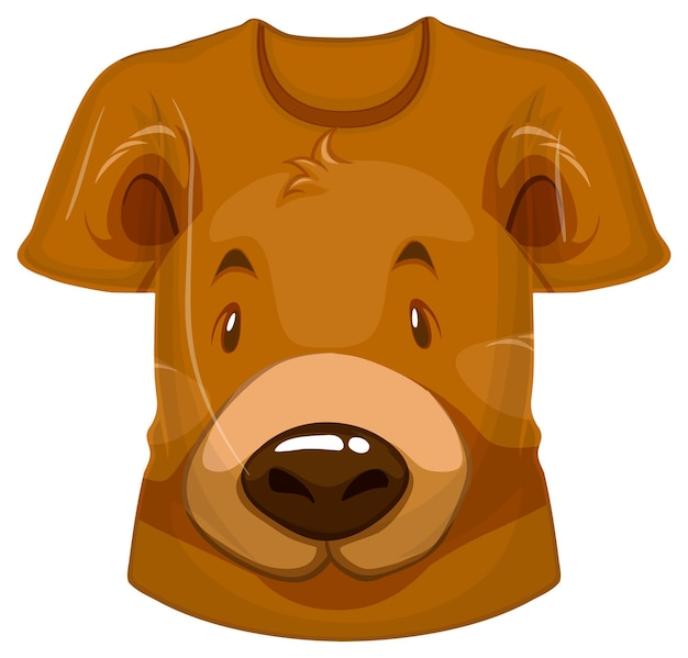 Frente da camiseta com estampa de urso pardo