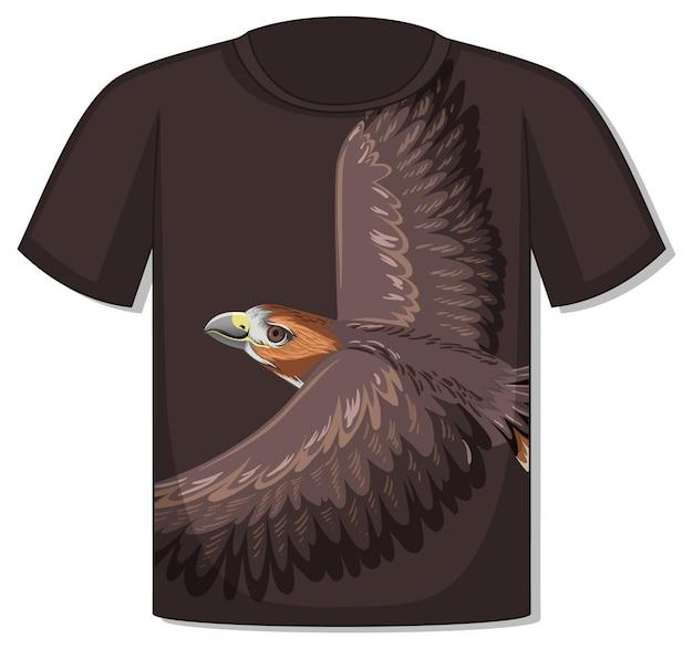Frente da camiseta com modelo de águia