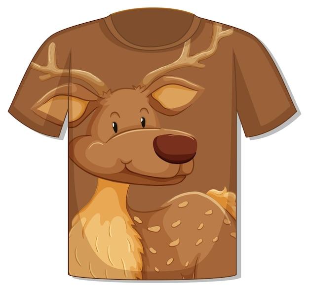 Frente da camiseta com modelo de cervo