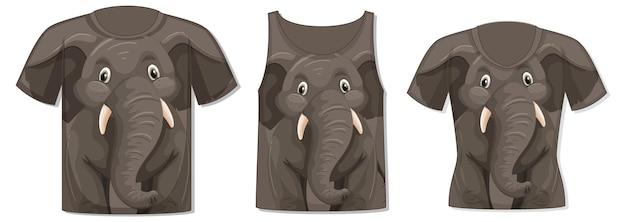 Frente da camiseta com modelo de elefante