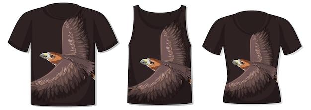Frente da camiseta com modelo de falcão