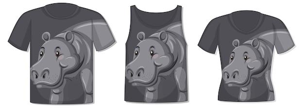 Frente da camiseta com modelo de hipopótamo