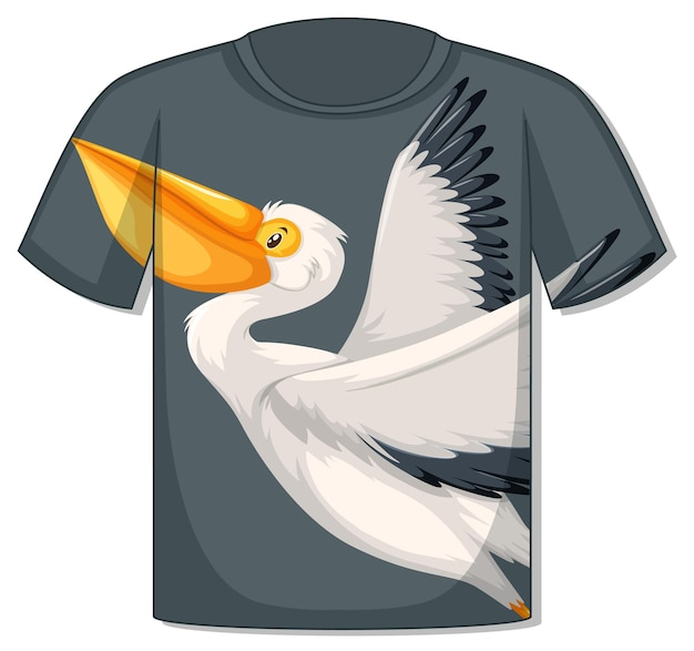 Frente da camiseta com modelo de pássaro pelicano