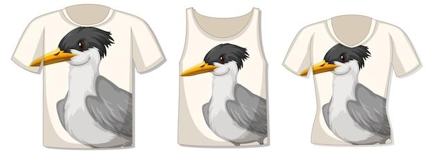 Frente da camiseta com modelo de pássaro
