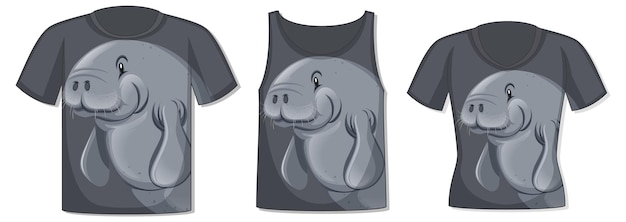 Frente da camiseta com modelo de peixe-boi