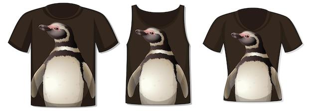 Frente da camiseta com modelo de pinguim