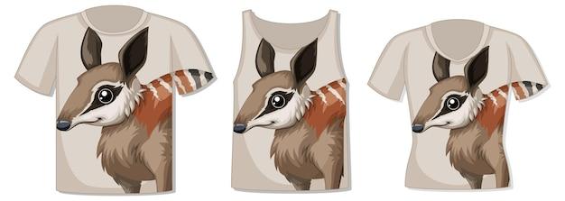 Frente da camiseta com modelo de rosto de animal