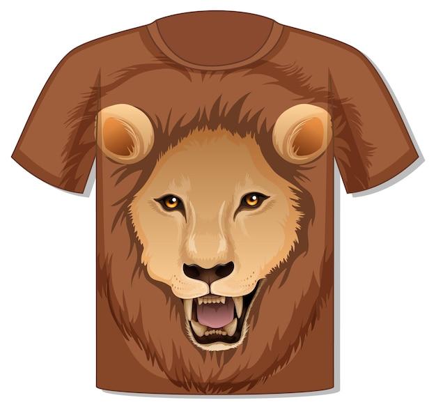 Frente da camiseta com modelo de rosto de leão