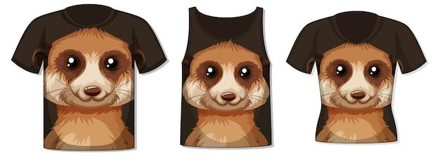 Frente da camiseta com modelo de rosto de meerkat