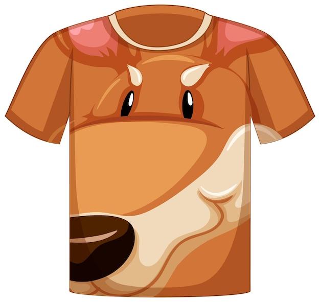 Frente da camiseta com rosto de padrão canguru