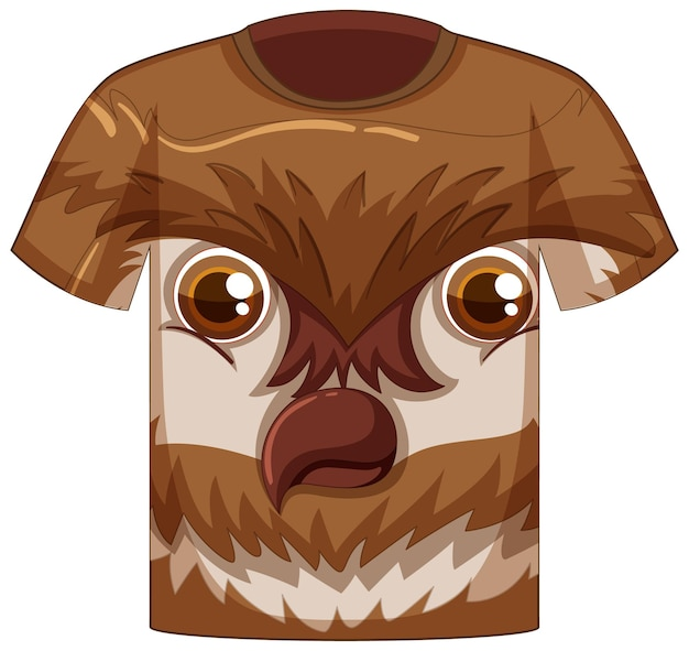 Frente da camiseta com rosto de padrão de coruja