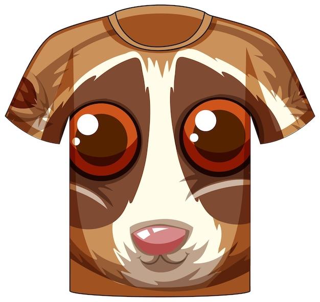 Frente da camiseta com rosto de padrão loris lento