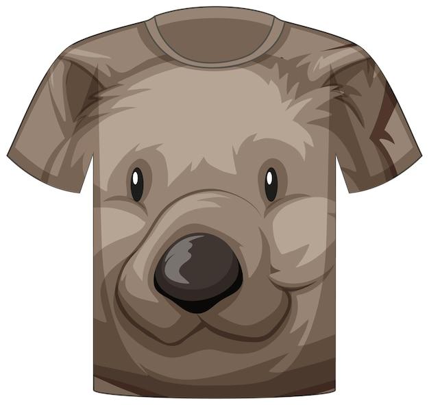 Frente da camiseta com rosto de urso fofo