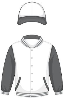 Frente da jaqueta bomber básica branca e cinza e boné isolado
