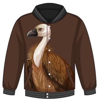 Frente da jaqueta bomber com padrão de abutre