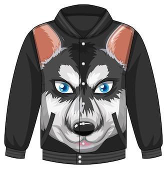 Frente da jaqueta bomber com padrão de cão husky siberiano