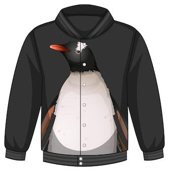 Frente da jaqueta bomber com padrão de pinguim